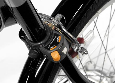 自転車ガーネット203のハンドルロック部分